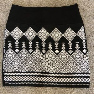 H&M black, white and silver embroidered mini skirt